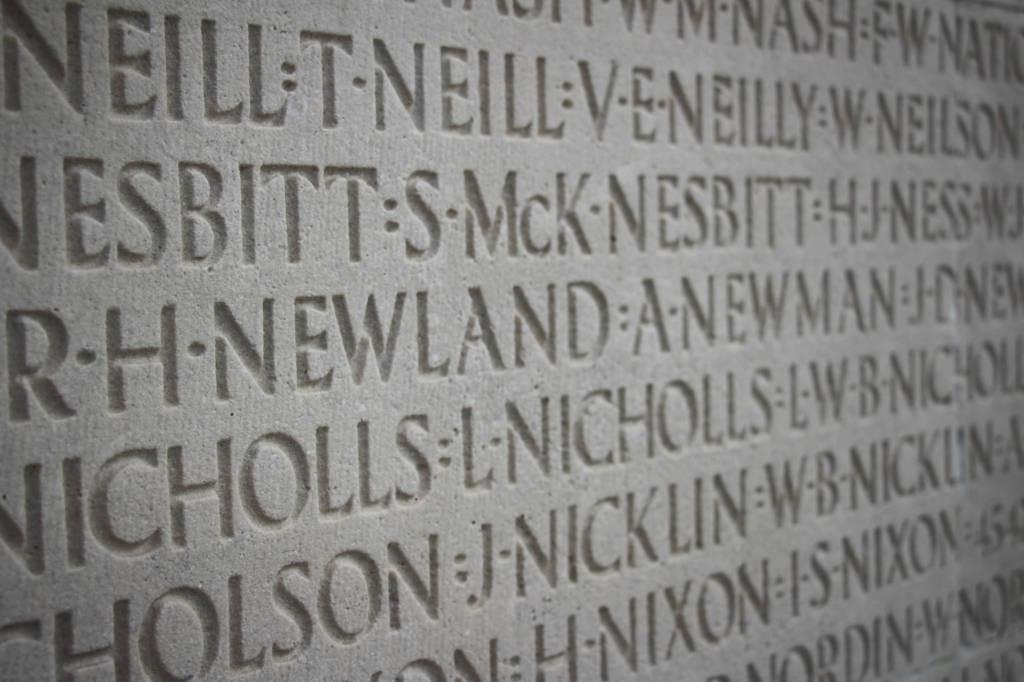 Noms des soldats sur le monument canadien de Vimy